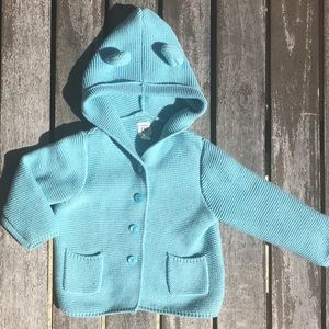 18-24m GAP Garter Knit Bear Ear Cardigan Sweater